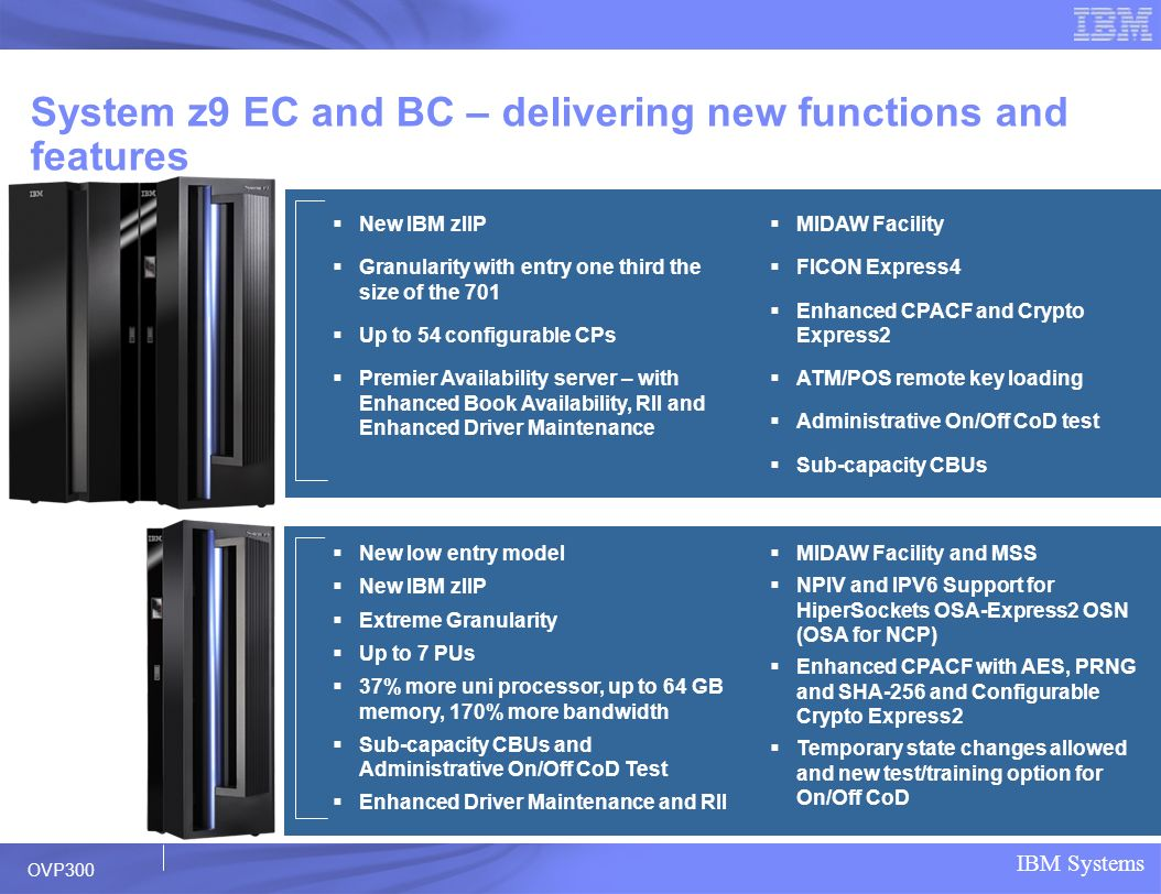 System z9 EC and BC – delivering new functions and features