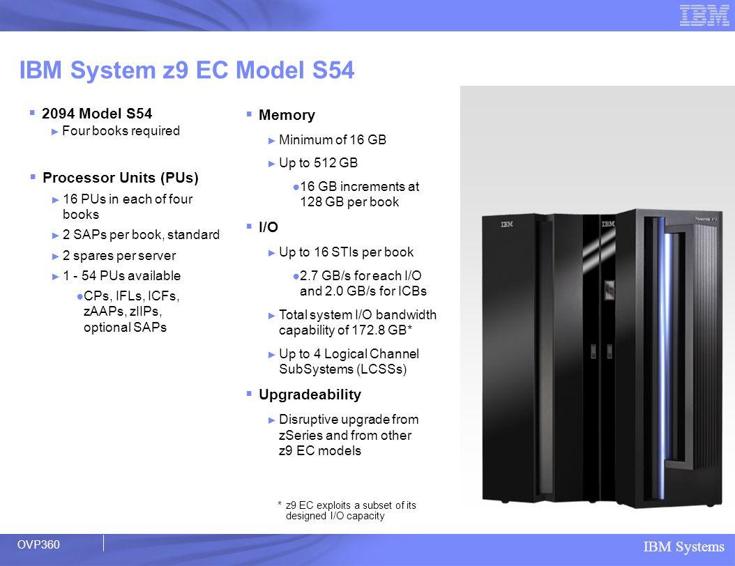 IBM System z9 EC Model S54 2094 Model S54 Memory I/O Upgradeability