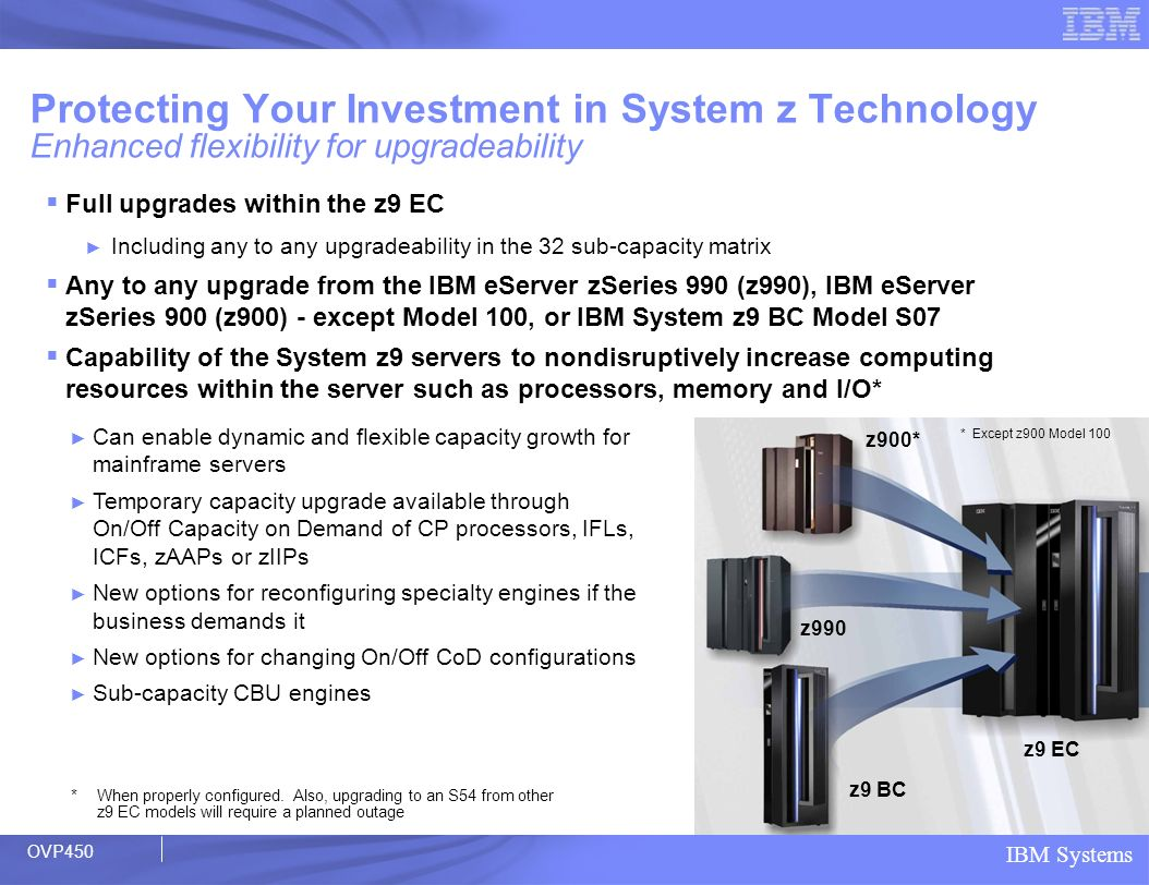 Protecting Your Investment in System z Technology Enhanced flexibility for upgradeability