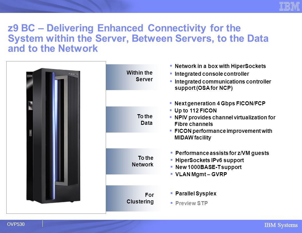 z9 BC – Delivering Enhanced Connectivity for the System within the Server, Between Servers, to the Data and to the Network