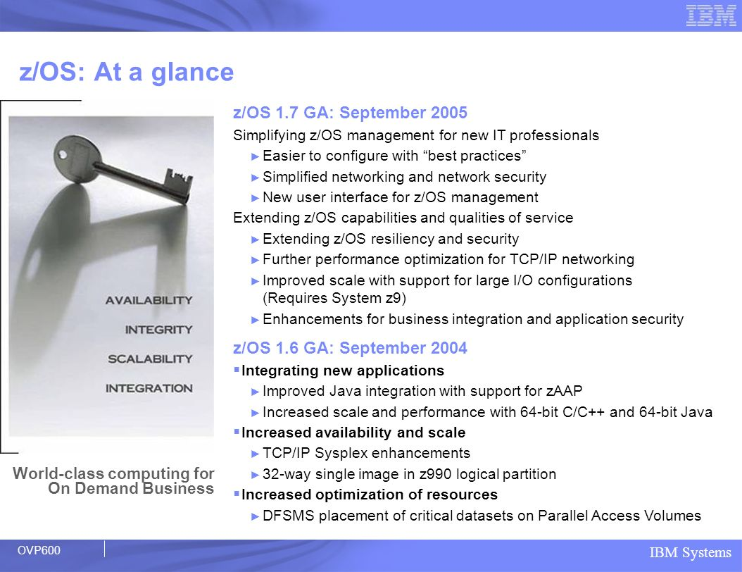 z/OS: At a glance z/OS 1.7 GA: September 2005