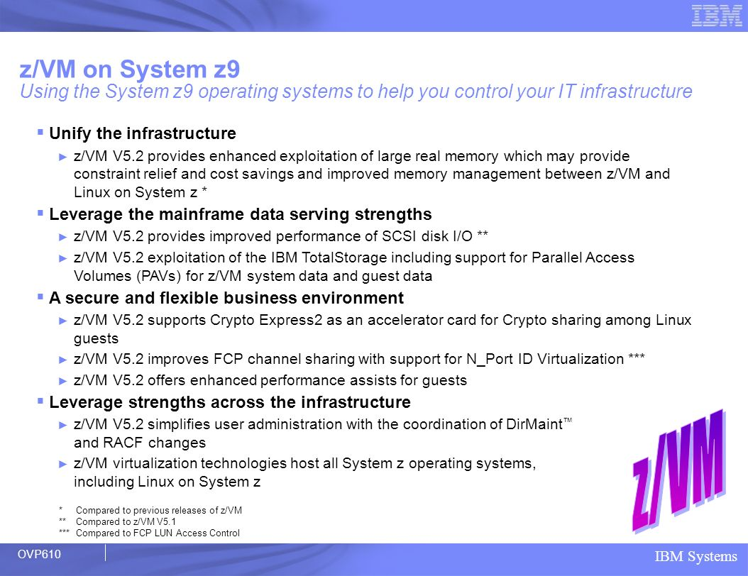 z/VM on System z9 Using the System z9 operating systems to help you control your IT infrastructure