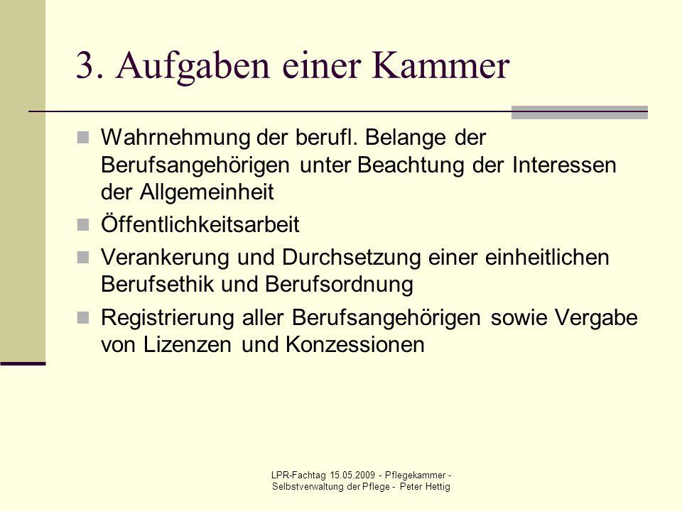 3. Aufgaben einer Kammer Wahrnehmung der berufl. Belange der Berufsangehörigen unter Beachtung der Interessen der Allgemeinheit.