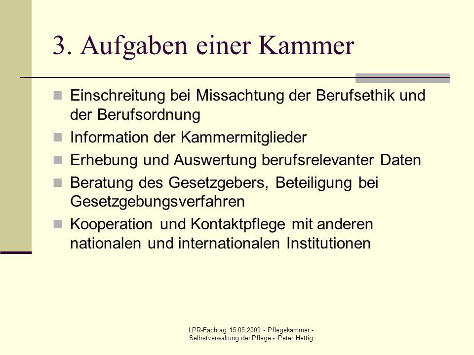 3. Aufgaben einer Kammer Einschreitung bei Missachtung der Berufsethik und der Berufsordnung. Information der Kammermitglieder.