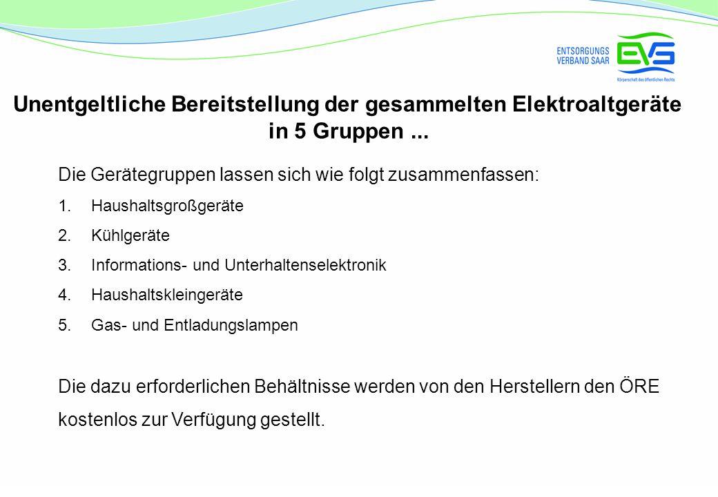 Unentgeltliche Bereitstellung der gesammelten Elektroaltgeräte