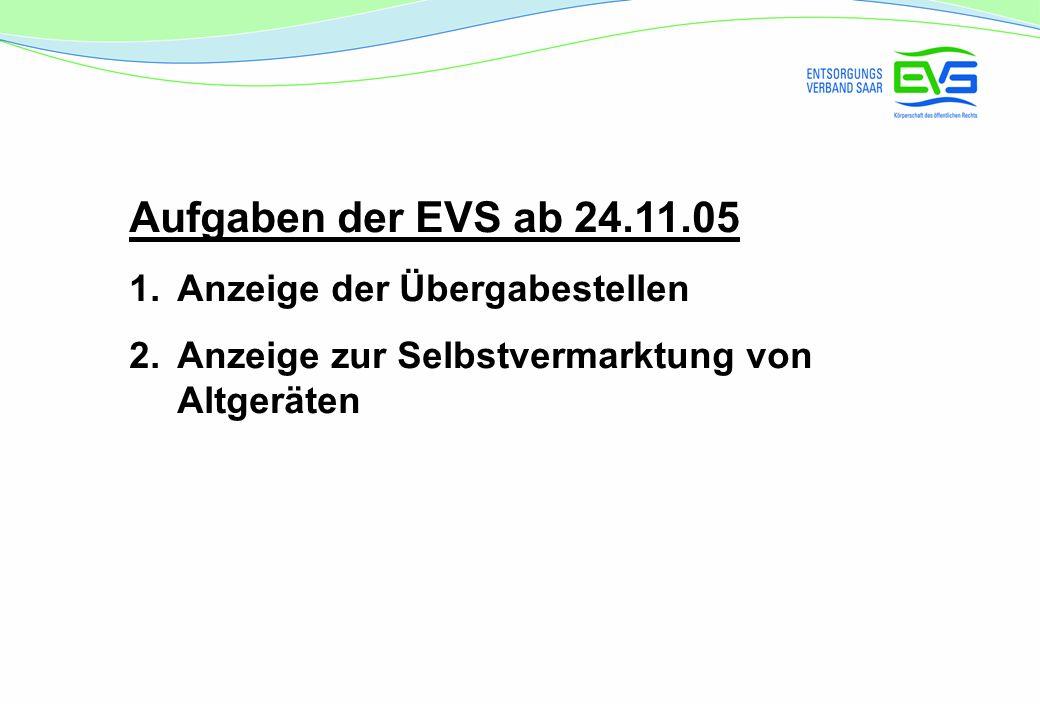 Aufgaben der EVS ab 24.11.05 Anzeige der Übergabestellen