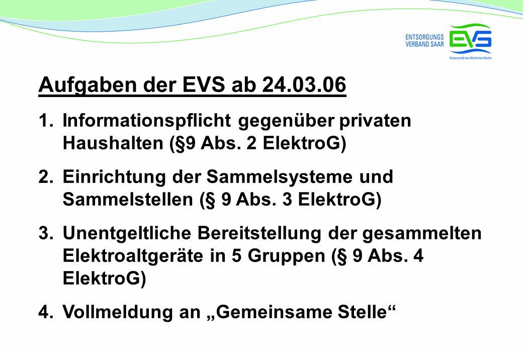 Aufgaben der EVS ab 24.03.06 Informationspflicht gegenüber privaten Haushalten (§9 Abs. 2 ElektroG)