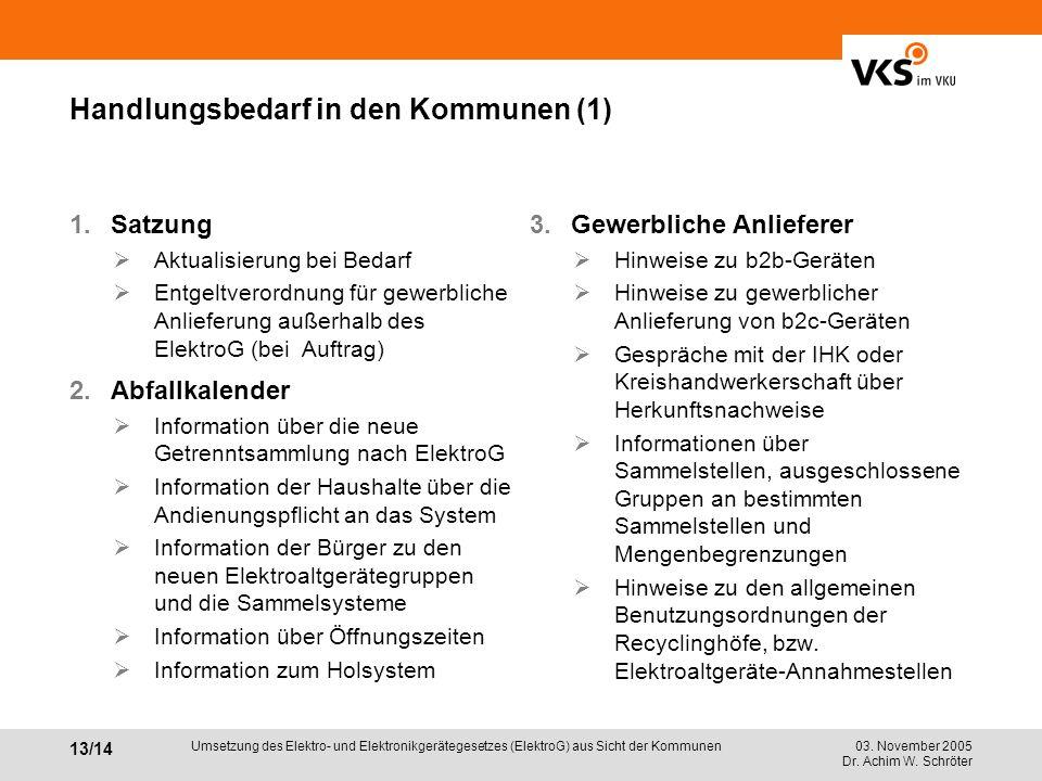 Handlungsbedarf in den Kommunen (1)