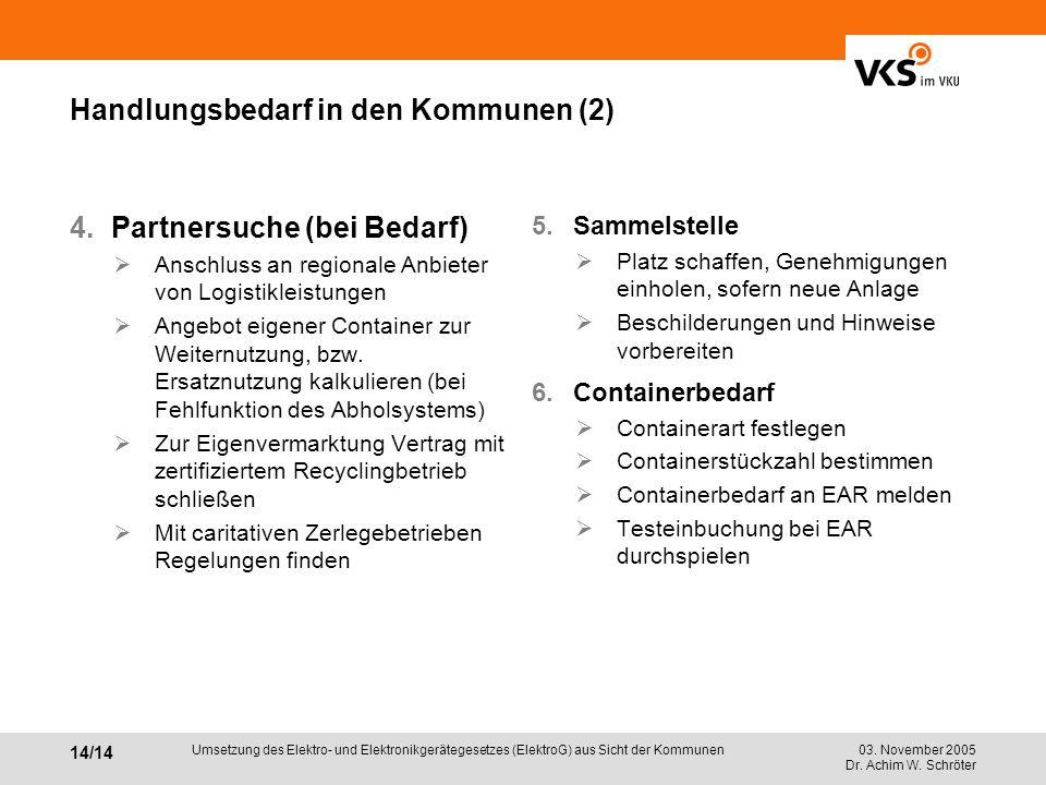 Handlungsbedarf in den Kommunen (2)