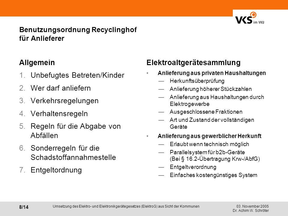 Benutzungsordnung Recyclinghof für Anlieferer