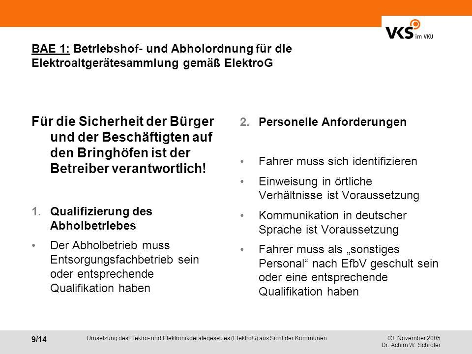 BAE 1: Betriebshof- und Abholordnung für die Elektroaltgerätesammlung gemäß ElektroG