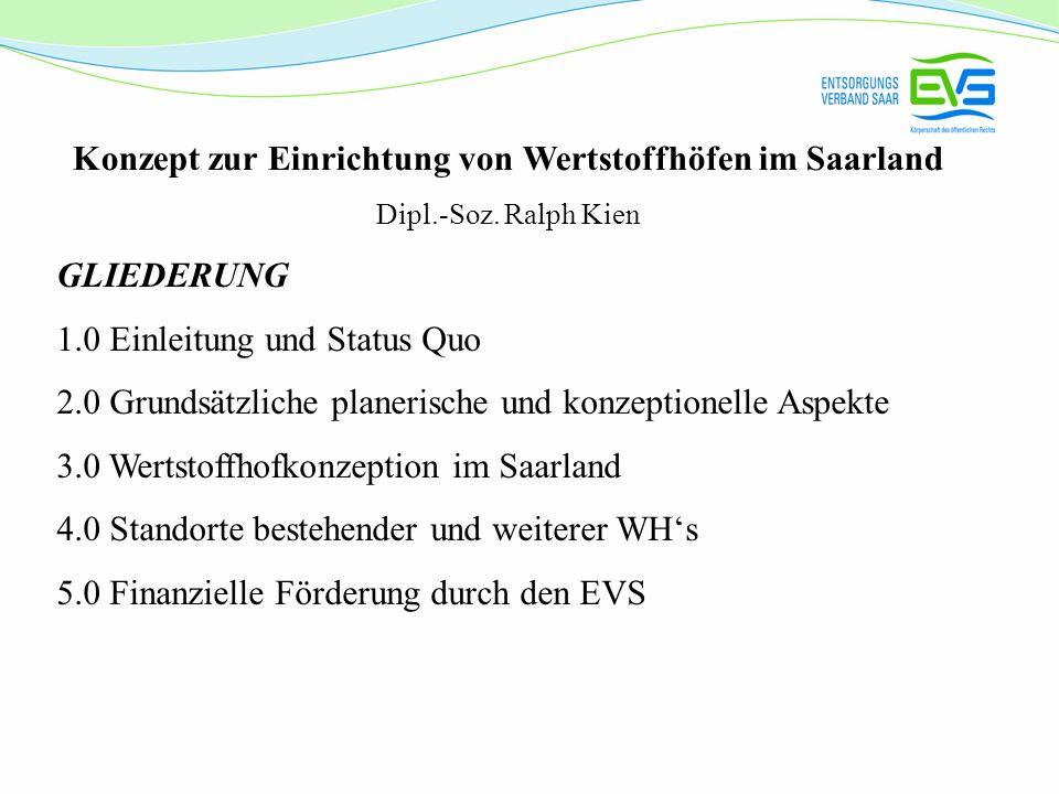 Konzept zur Einrichtung von Wertstoffhöfen im Saarland