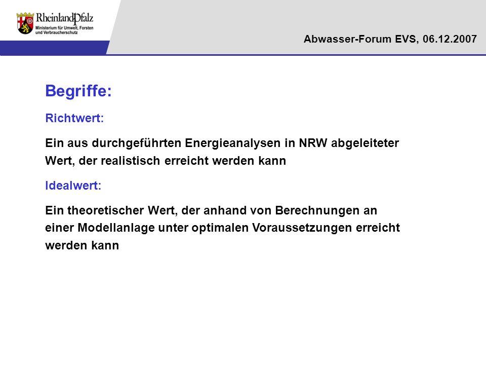 Begriffe: Richtwert: Ein aus durchgeführten Energieanalysen in NRW abgeleiteter Wert, der realistisch erreicht werden kann.