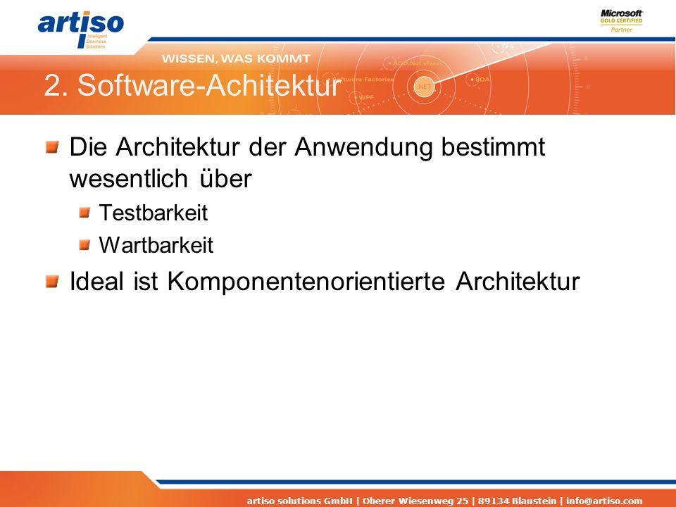 2. Software-Achitektur Die Architektur der Anwendung bestimmt wesentlich über. Testbarkeit. Wartbarkeit.