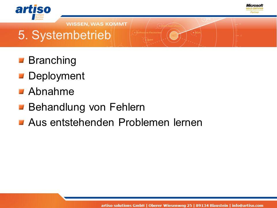 5. Systembetrieb Branching Deployment Abnahme Behandlung von Fehlern