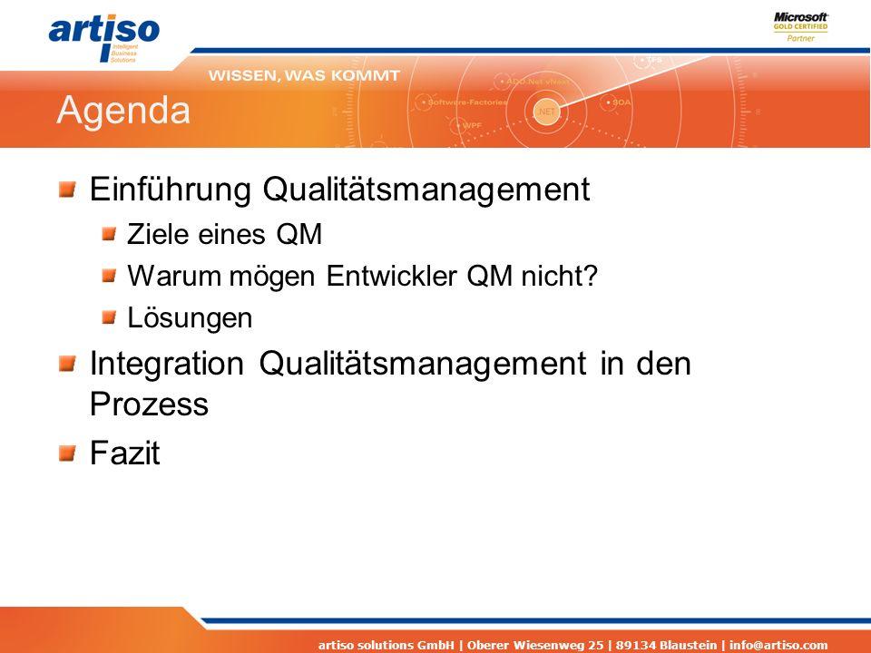 Agenda Einführung Qualitätsmanagement