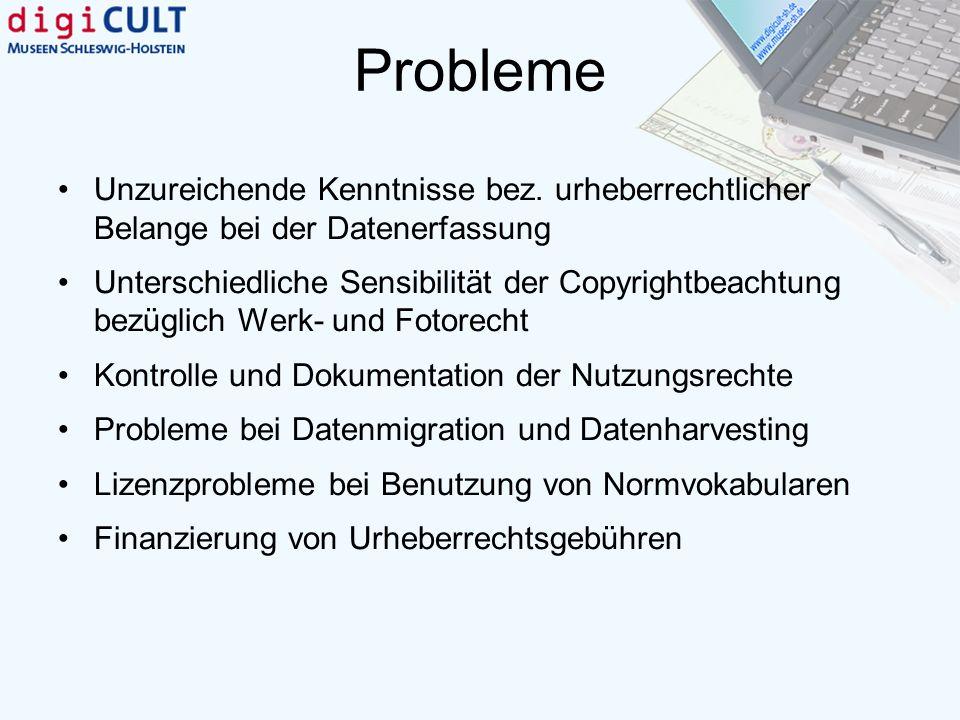 Probleme Unzureichende Kenntnisse bez. urheberrechtlicher Belange bei der Datenerfassung.