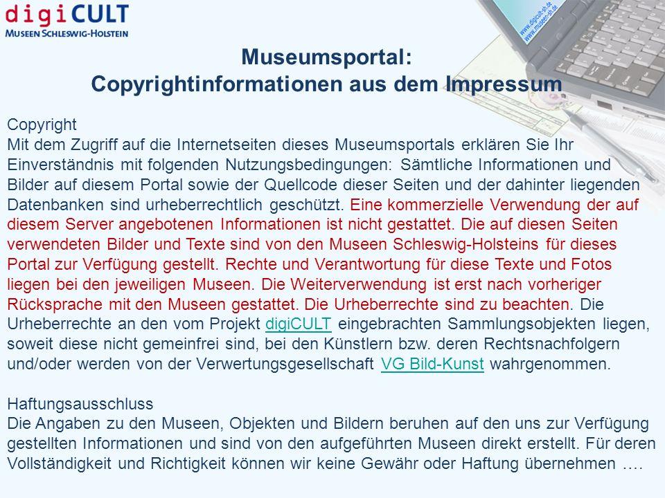 Museumsportal: Copyrightinformationen aus dem Impressum