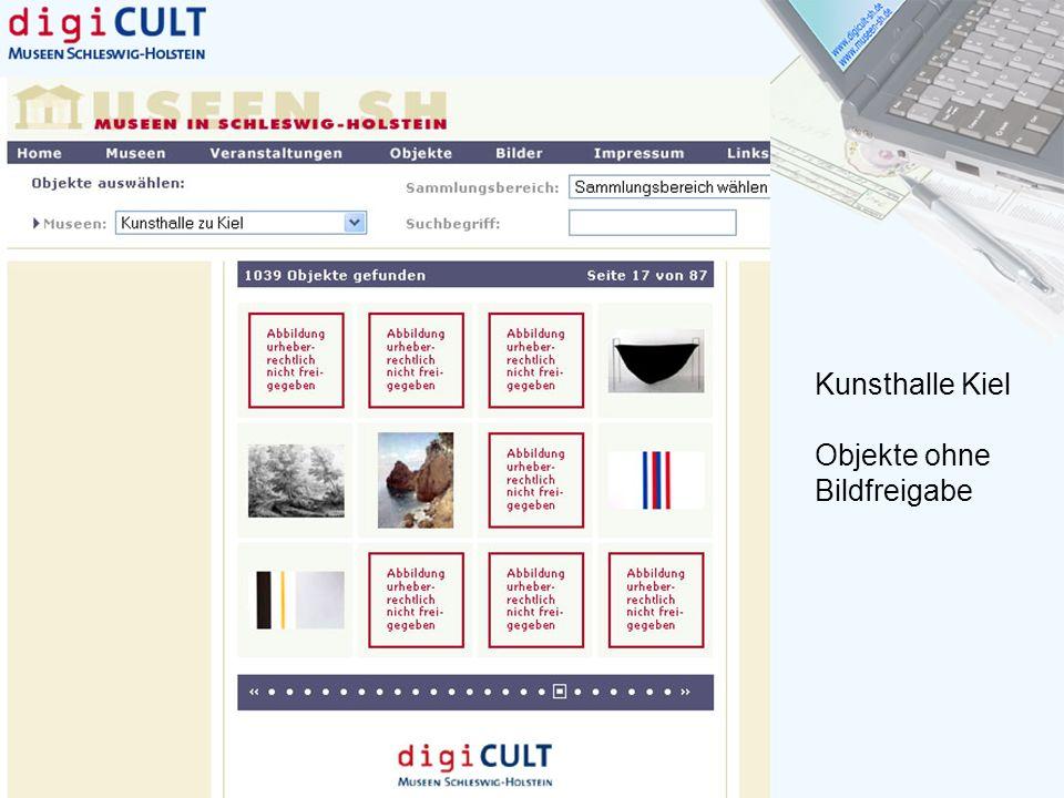 Kunsthalle Kiel Objekte ohne Bildfreigabe