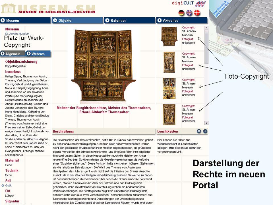 Darstellung der Rechte im neuen Portal