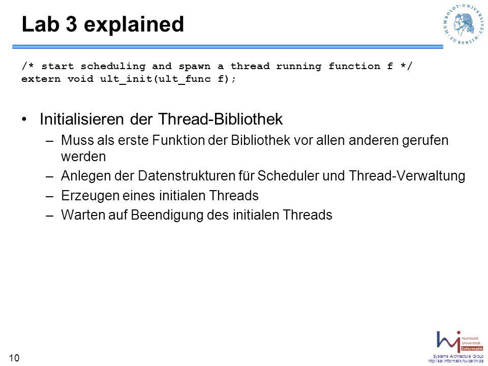 Lab 3 explained Initialisieren der Thread-Bibliothek