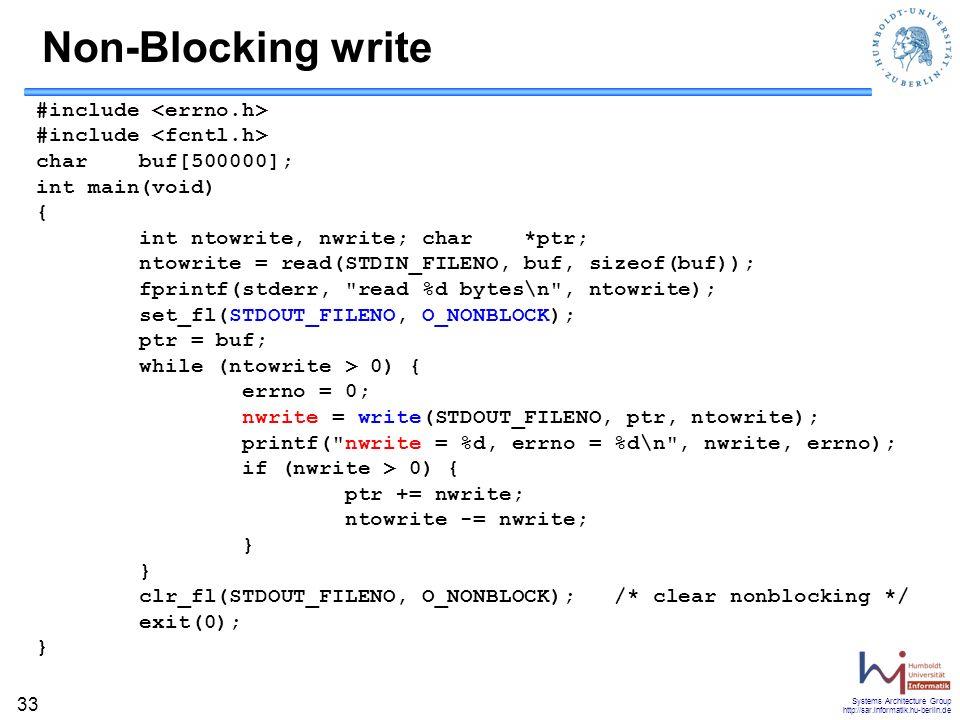 Non-Blocking write #include <errno.h> #include <fcntl.h>