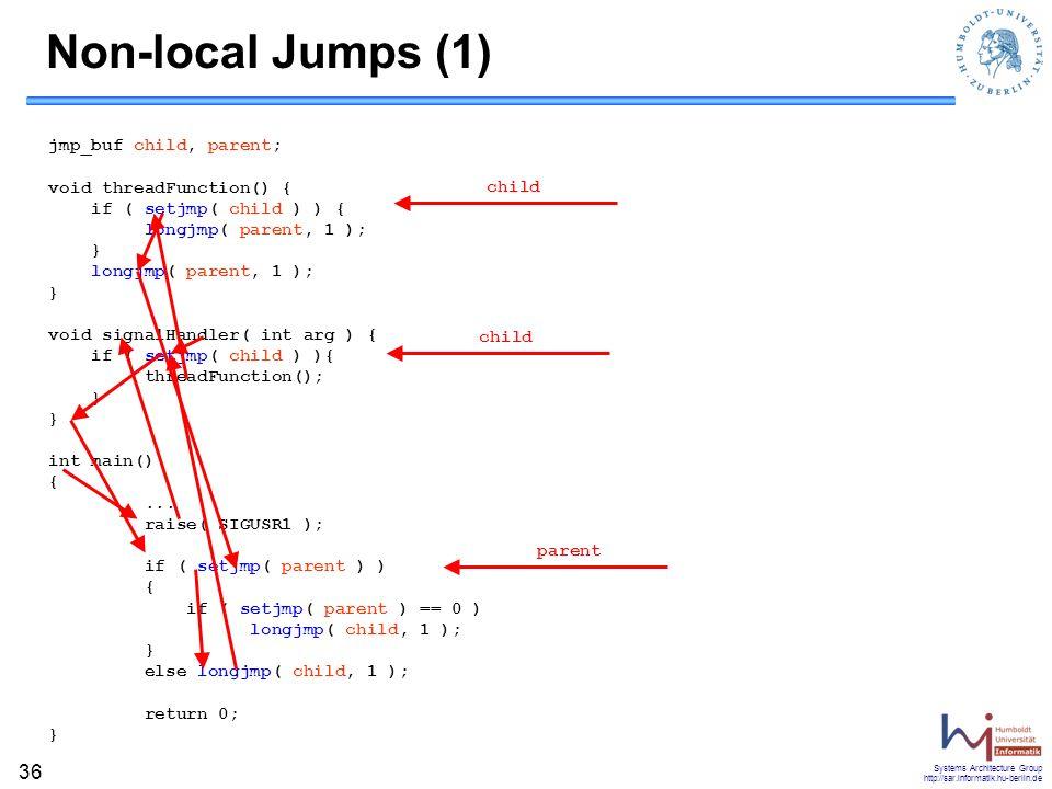 Non-local Jumps (1) jmp_buf child, parent;