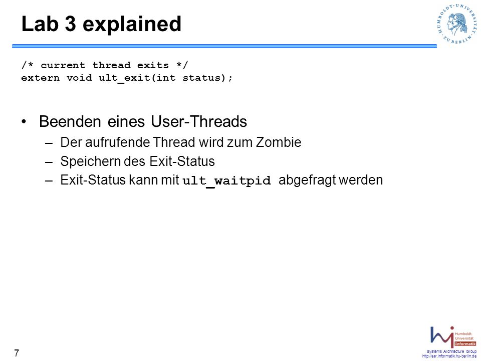 Lab 3 explained Beenden eines User-Threads