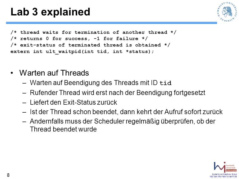 Lab 3 explained Warten auf Threads