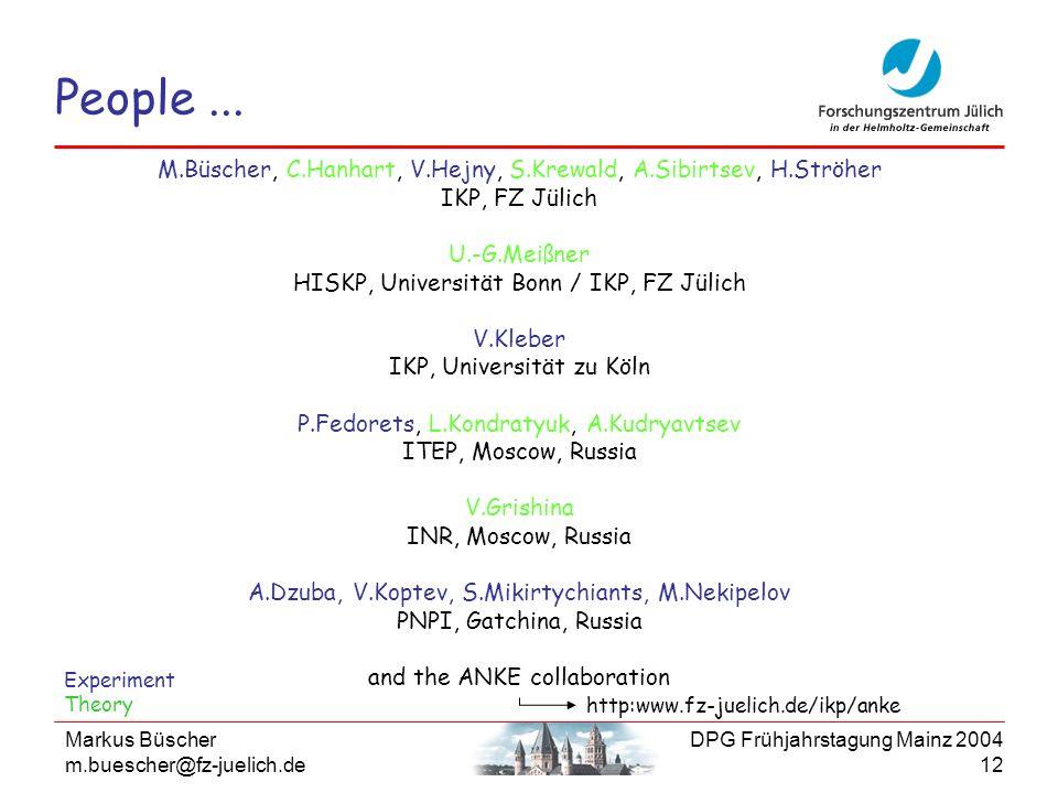 People ...M.Büscher, C.Hanhart, V.Hejny, S.Krewald, A.Sibirtsev, H.Ströher. IKP, FZ Jülich. U.-G.Meißner.