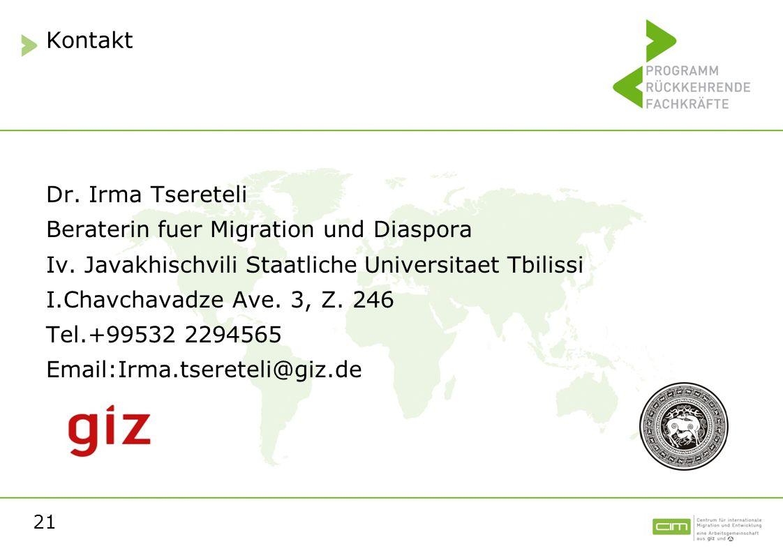 Kontakt Dr. Irma Tsereteli. Beraterin fuer Migration und Diaspora. Iv. Javakhischvili Staatliche Universitaet Tbilissi.