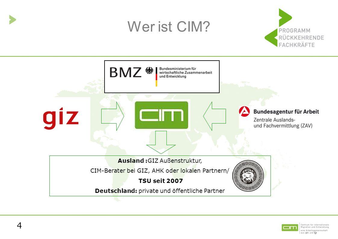Wer ist CIM Ausland :GIZ Außenstruktur,