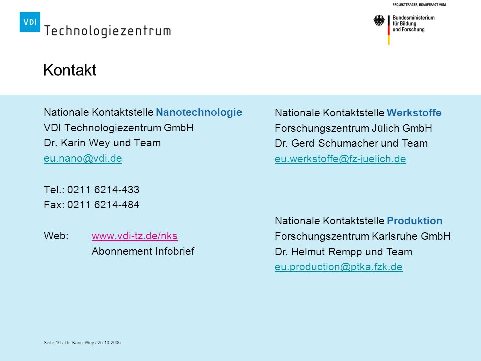 Kontakt Nationale Kontaktstelle Nanotechnologie