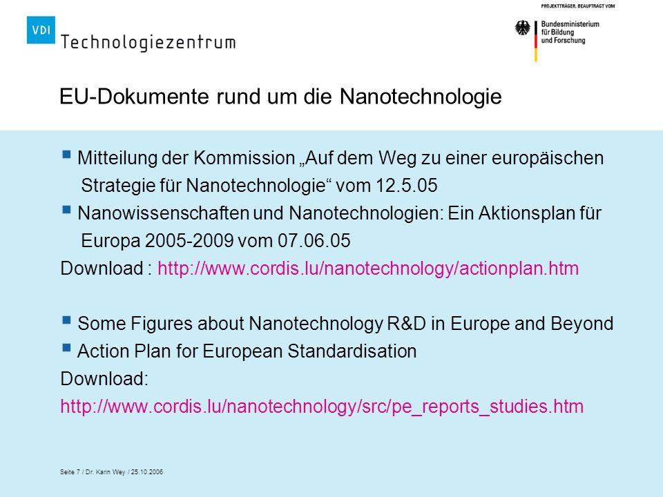 EU-Dokumente rund um die Nanotechnologie