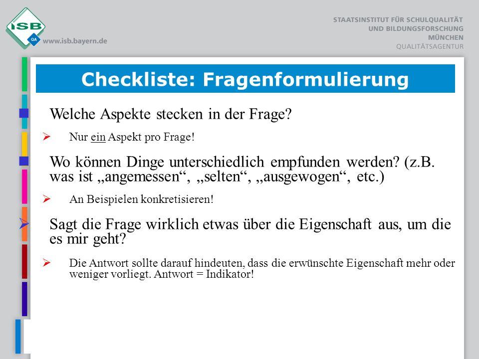 Checkliste: Fragenformulierung