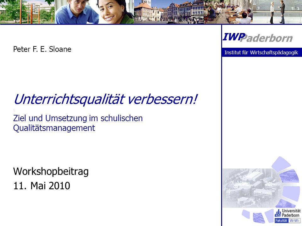 Paderborn IWP. Peter F. E. Sloane. Institut für Wirtschaftspädagogik.