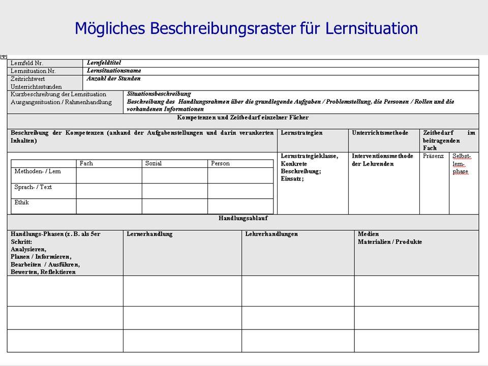 Mögliches Beschreibungsraster für Lernsituation