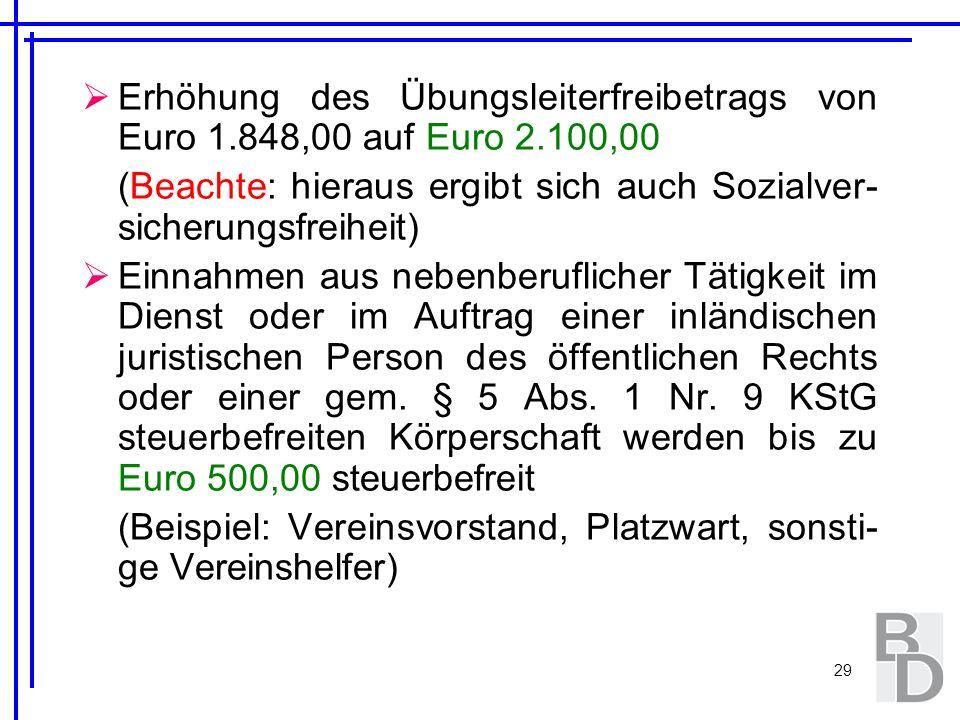 Erhöhung des Übungsleiterfreibetrags von Euro 1. 848,00 auf Euro 2