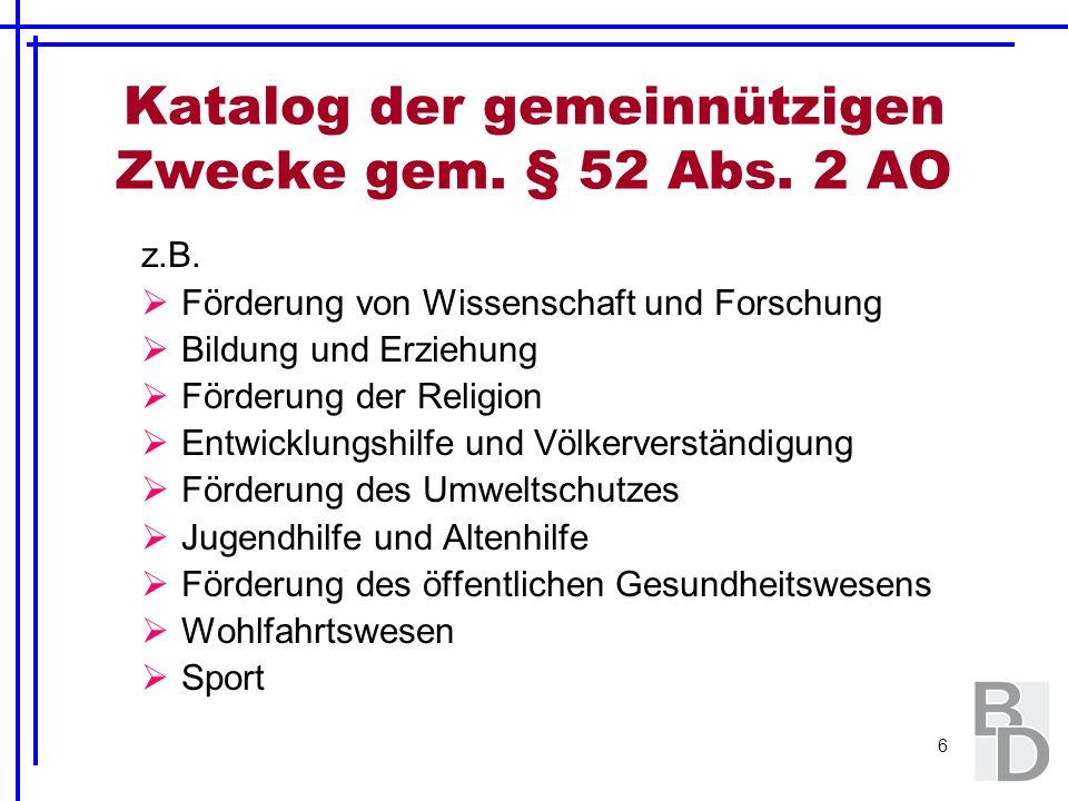 Katalog der gemeinnützigen Zwecke gem. § 52 Abs. 2 AO