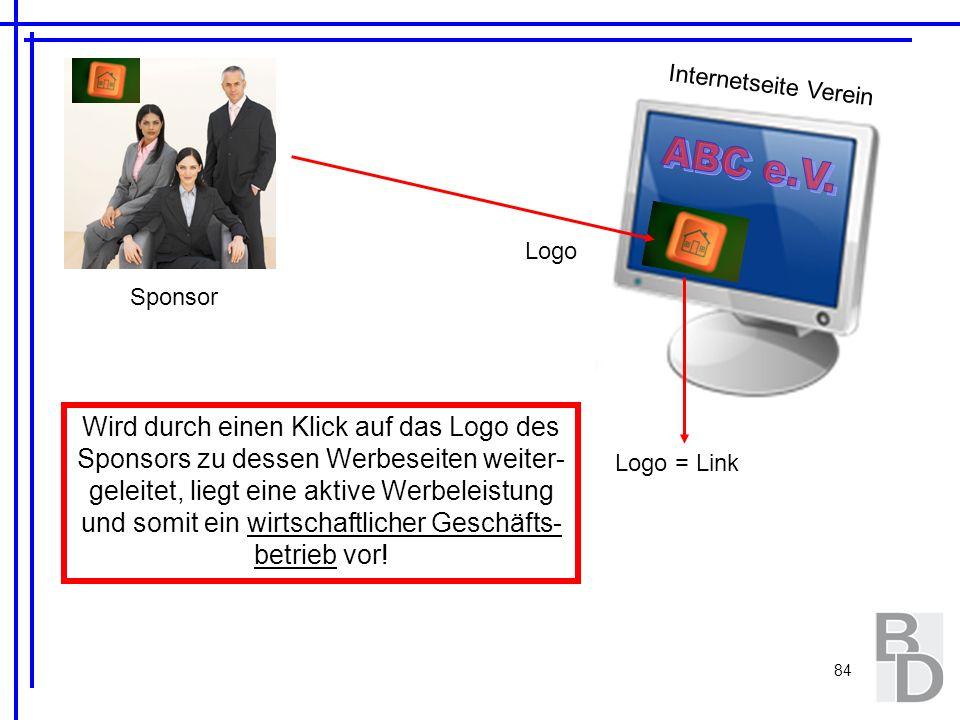 Internetseite Verein ABC e.V. Logo. Sponsor.