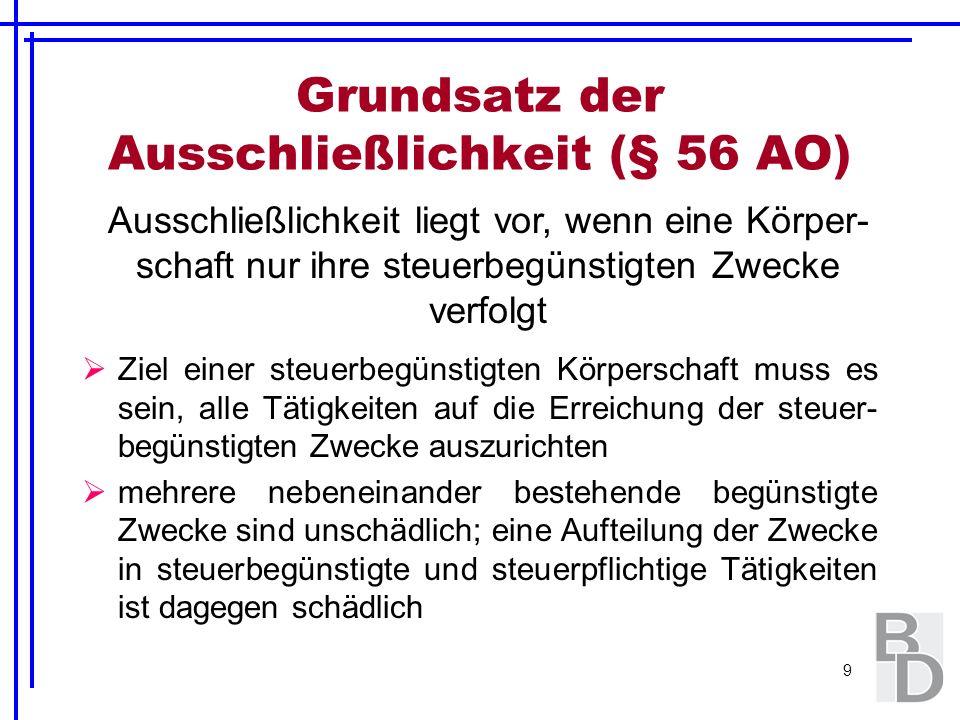 Grundsatz der Ausschließlichkeit (§ 56 AO)