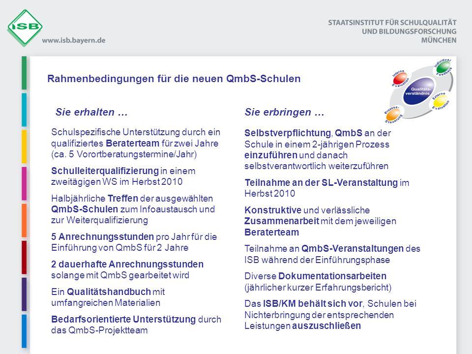 Rahmenbedingungen für die neuen QmbS-Schulen