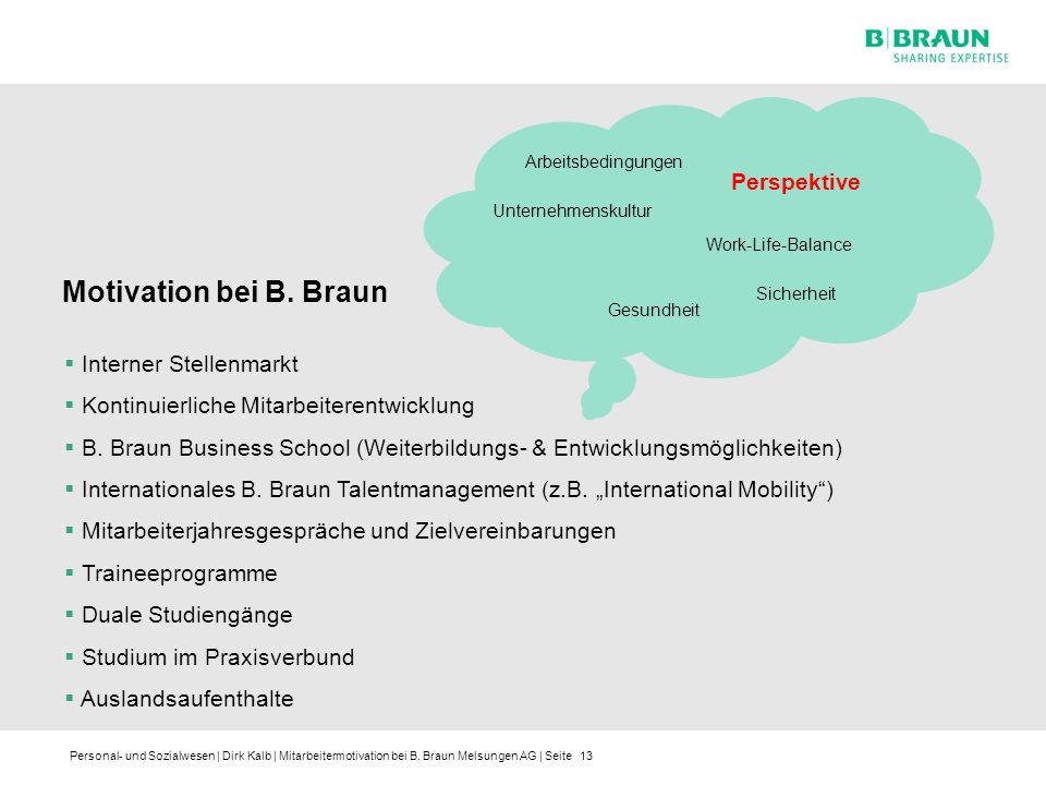 Motivation bei B. Braun Perspektive Interner Stellenmarkt