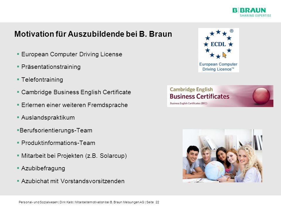 Motivation für Auszubildende bei B. Braun