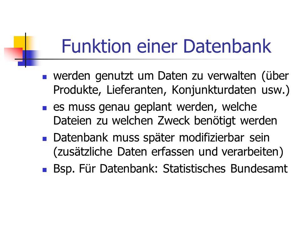 Funktion einer Datenbank