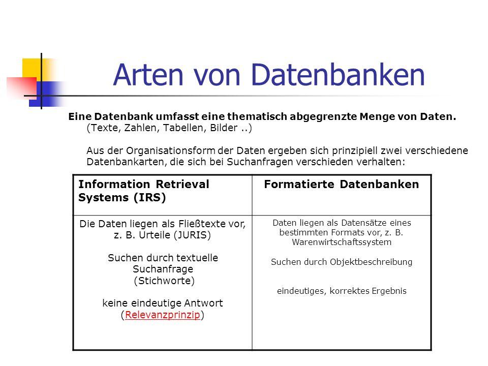 Formatierte Datenbanken