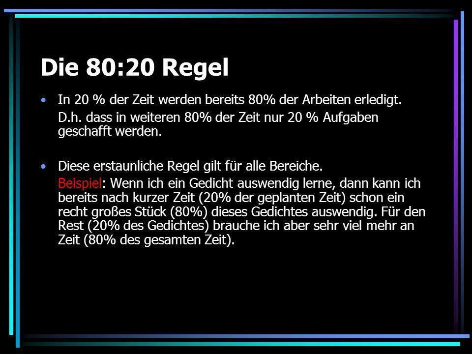 Die 80:20 Regel In 20 % der Zeit werden bereits 80% der Arbeiten erledigt. D.h. dass in weiteren 80% der Zeit nur 20 % Aufgaben geschafft werden.