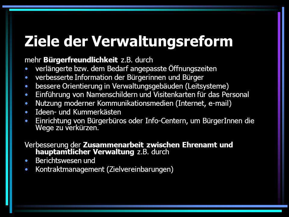 Ziele der Verwaltungsreform