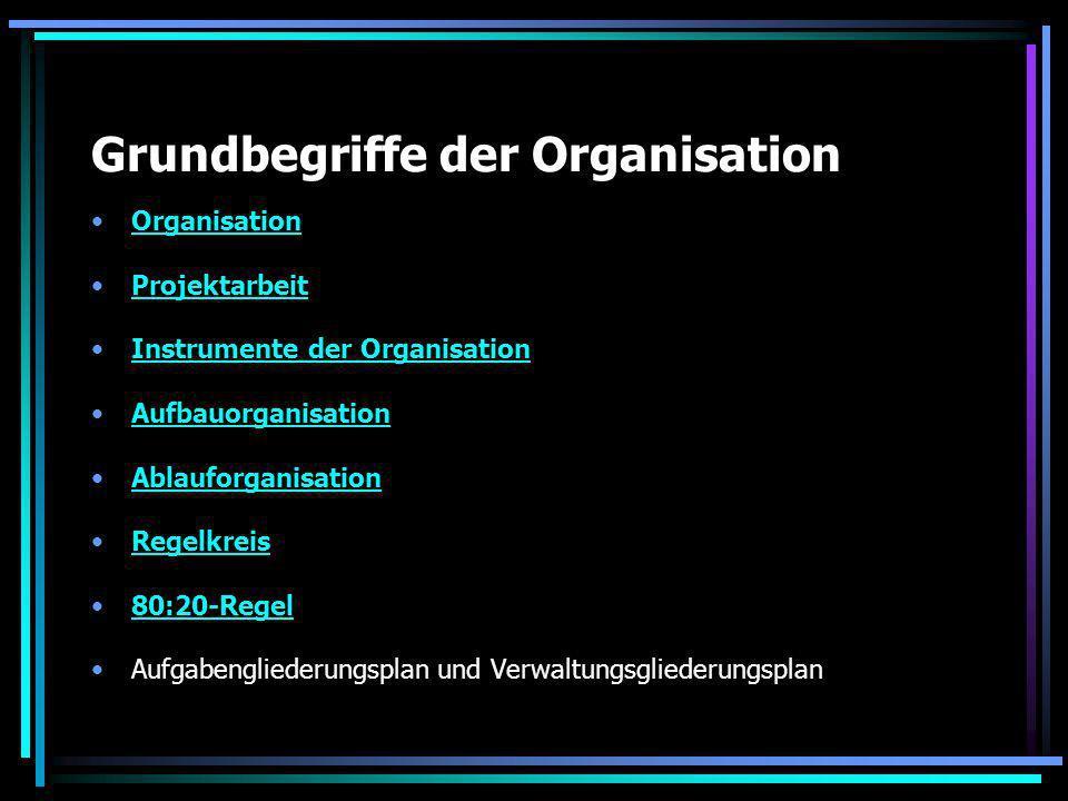 Grundbegriffe der Organisation