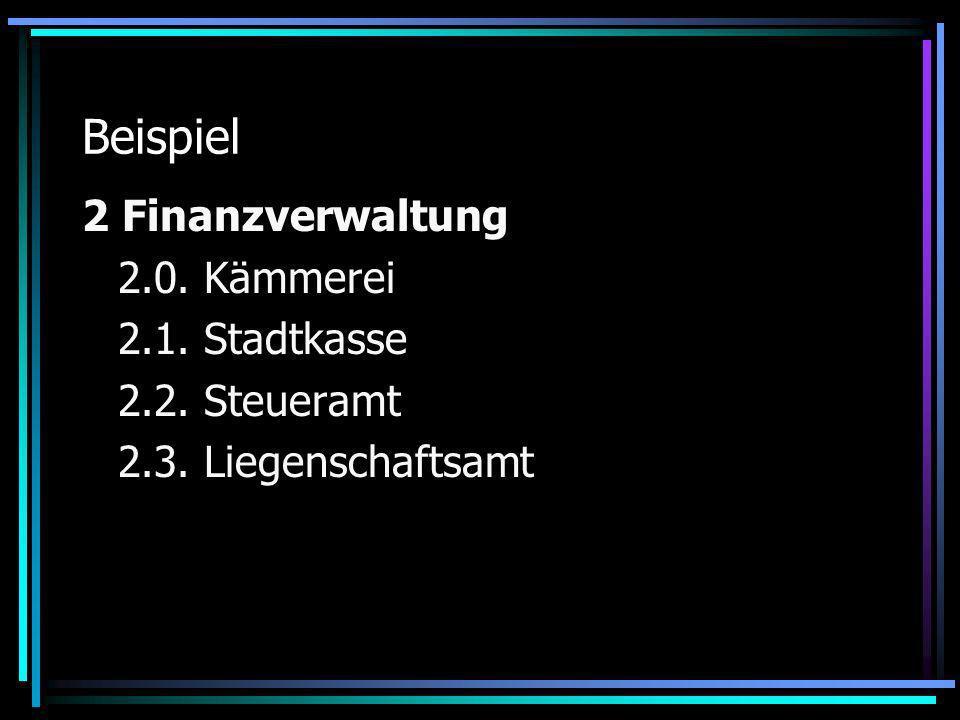 Beispiel 2 Finanzverwaltung 2.0. Kämmerei 2.1. Stadtkasse